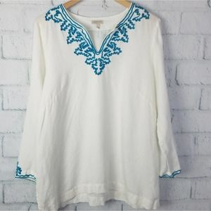 Madison White Linen & Embroidery Tunic Top